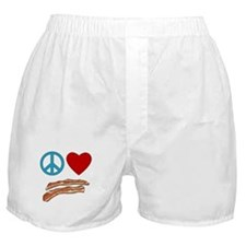 Peace Love Bacon Symbology Boxer Shorts