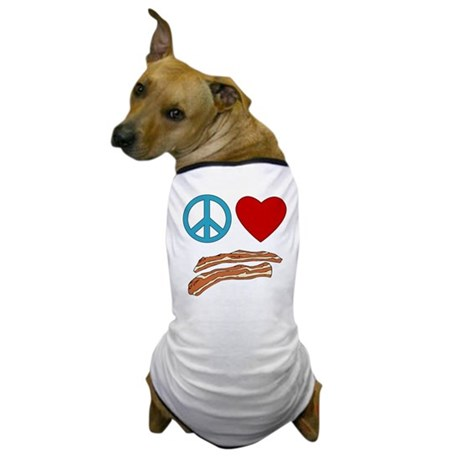 Peace Love Bacon Symbology Dog T-Shirt