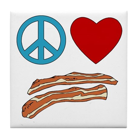 Peace Love Bacon Symbology Tile Coaster