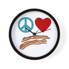 Peace Love Bacon Symbology Wall Clock