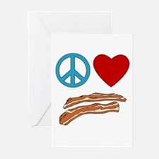 Peace Love Bacon Symbology Greeting Cards (Pk of 1