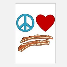 Peace Love Bacon Symbology Postcards (Package of 8
