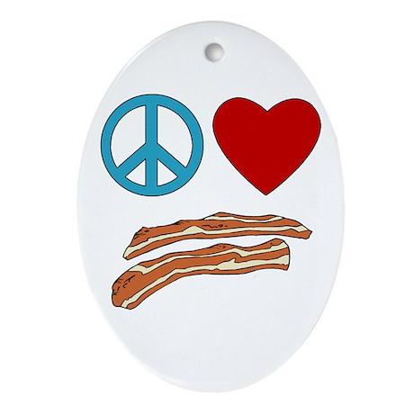 Peace Love Bacon Symbology Oval Ornament