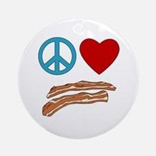 Peace Love Bacon Symbology Ornament (Round)