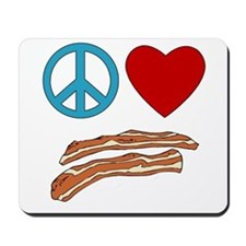 Peace Love Bacon Symbology Mousepad