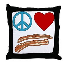 Peace Love Bacon Symbology Throw Pillow