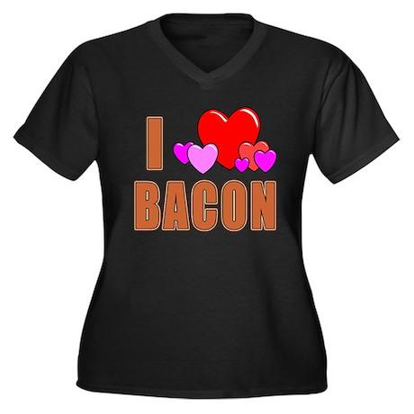 I Love Bacon Women's Plus Size V-Neck Dark T-Shirt