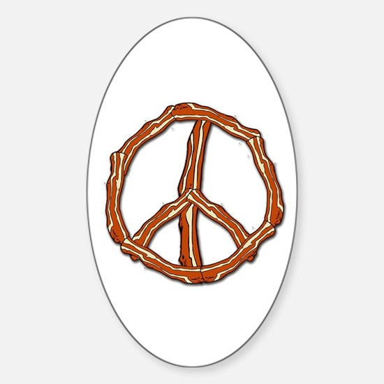 Bacon Peace Sign Oval Decal