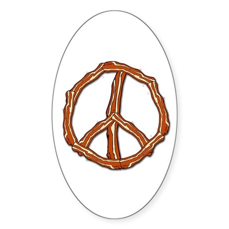 Bacon Peace Sign Oval Sticker