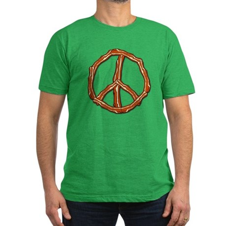 Bacon Peace Sign Men's Fitted T-Shirt (dark)