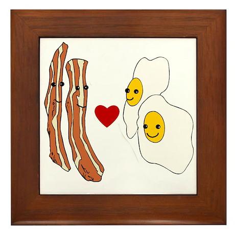 Bacon Loves Eggs Framed Tile