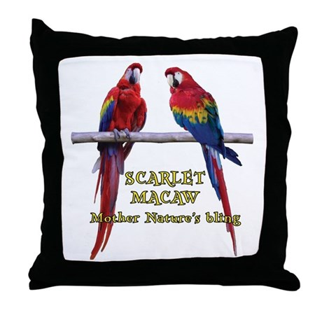 Macaw Bling Throw Pillow
