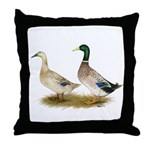 Ducks: Silver Welsh Harlequi Throw Pillow
