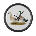 Ducks: Silver Welsh Harlequi Large Wall Clock
