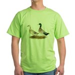 Ducks: Silver Welsh Harlequi Green T-Shirt