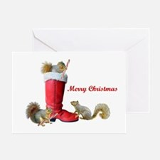 Squirrels in Santa's Boot Greeting Card
