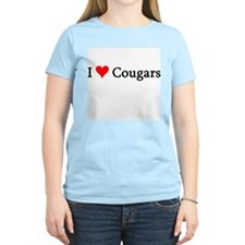 I Love Cougars Women's Pink T-Shirt