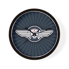 Winged RN Pirate Emblem Wall Clock