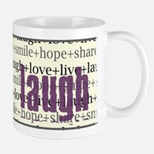 LAUGH Inspirational Collage Mug