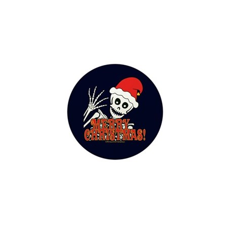 Merry Christmas Skeleton Mini Button (100 pack)