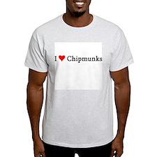 I Love Chipmunks Ash Grey T-Shirt