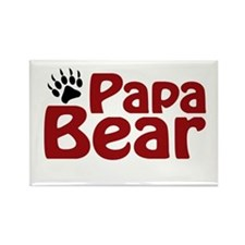 Papa Bear Claw Rectangle Magnet