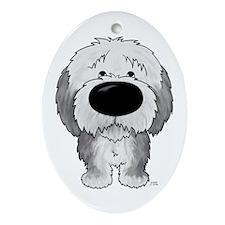 Big Nose Sheepdog Oval Ornament