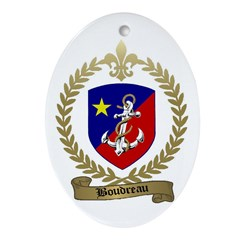 BOUDREAU Family Crest Oval Ornament