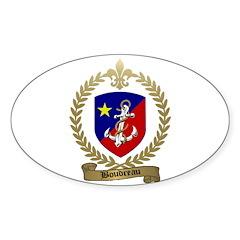 BOUDREAU Family Crest Oval Sticker
