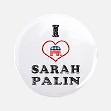 """I Love Sarah Palin 3.5"""" Button"""