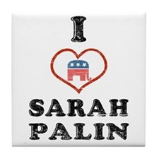 I Love Sarah Palin Tile Coaster