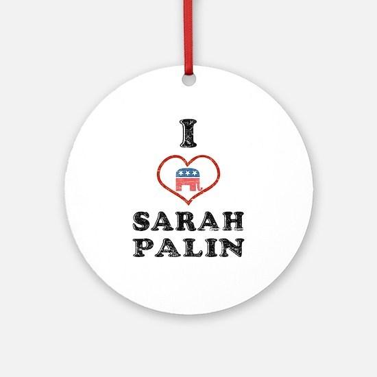 I Love Sarah Palin Ornament (Round)
