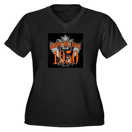1950 Women's Plus Size V-Neck Dark T-Shirt