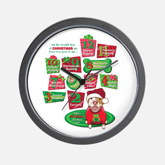 12 Dogs of Christmas Wall Clock