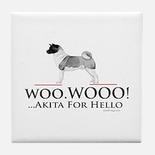 oddFrogg Akita Woo Hello Tile Coaster