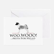 oddFrogg Akita Woo Hello Greeting Cards (Pk of 10)