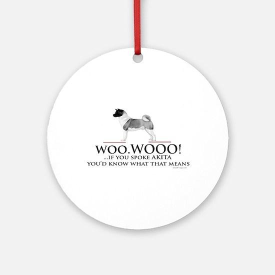 Akita Woo Woo Ornament (Round)