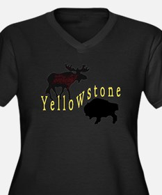Bison Moose Yellowstone Women's Plus Size V-Neck D