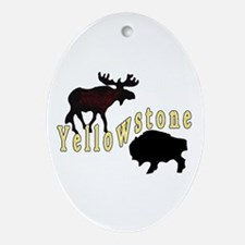 Bison Moose Yellowstone Ornament (Oval)