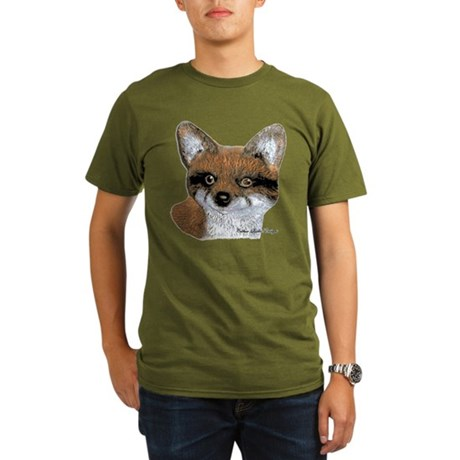 Fox Portrait Design Organic Men's T-Shirt (dark)