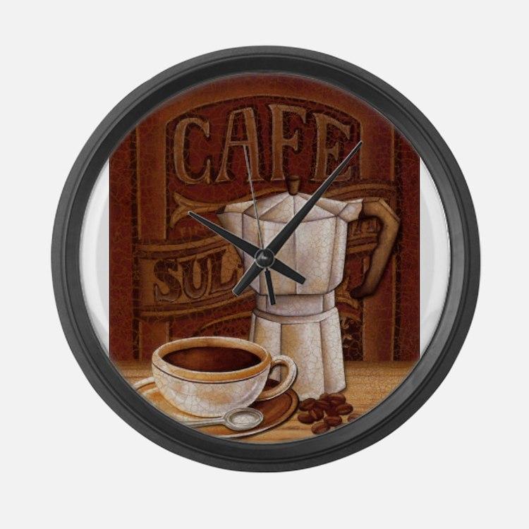 Cute Mocha latte Large Wall Clock