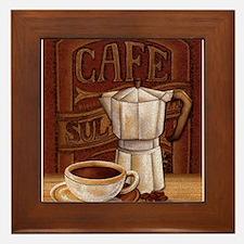 Funny Mocha latte Framed Tile