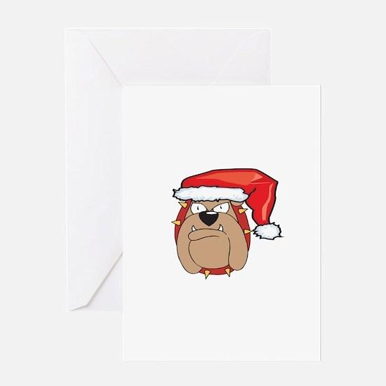 SANTA BULLDOG Greeting Card
