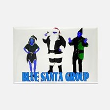 Blue Santa Group Rectangle Magnet