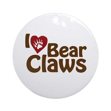 I Love Bear Claws Ornament (Round)
