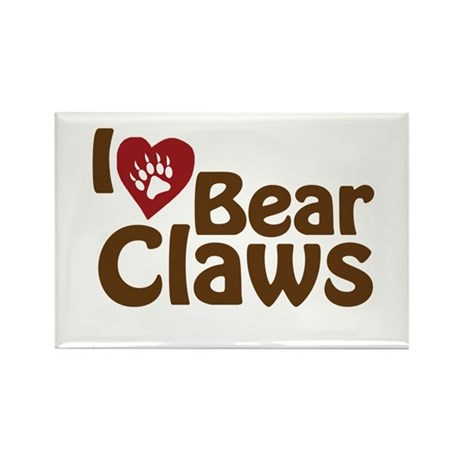 I Love Bear Claws Rectangle Magnet