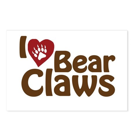 I Love Bear Claws Postcards (Package of 8)