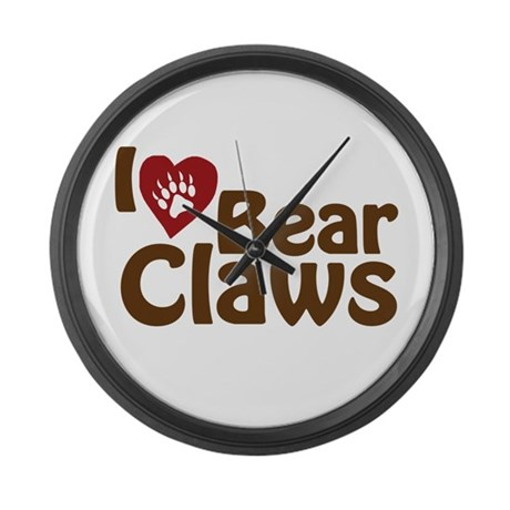 I Love Bear Claws Large Wall Clock