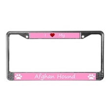 Pink I Love My Afghan Hound License Plate Frame