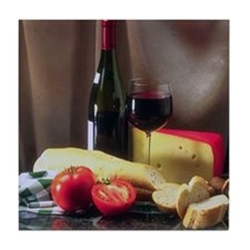 Holiday wine & cheese Tile Coaster